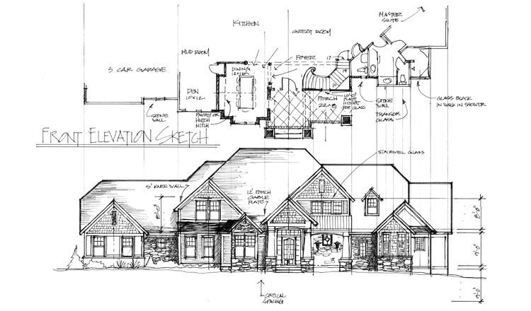 Front Elevation Sketch : Perez design build remodel custom home